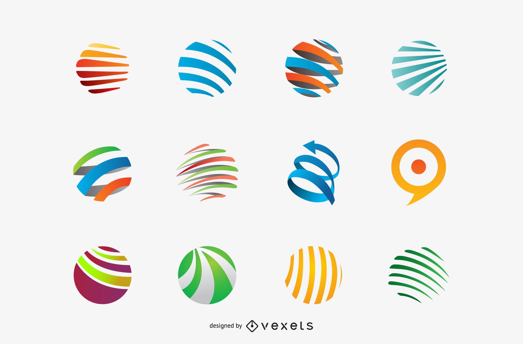 Colección de diseño de plantilla de logotipo con círculos ...