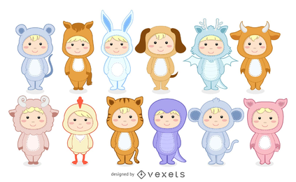 Cute Anthropomorphic Zodiac Qvector