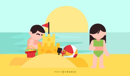 Children Summer Vector