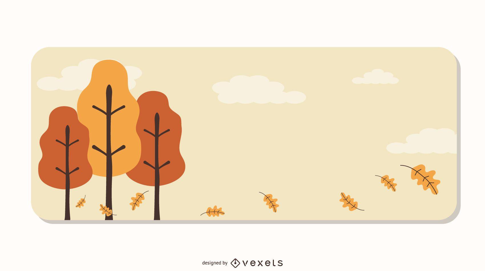 Diseño de vector de banner decorativo de árboles
