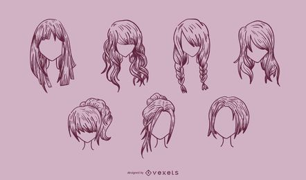 Gehen Sie Medien produzierte Vektor-weibliche Haar-Serie