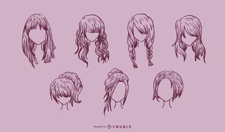 Serie de cabello femenino de Vector Media Produced Go