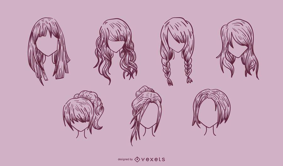 Vá mídia produzida série de cabelo feminino de vetor