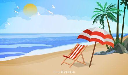 Vetor de praia de verão