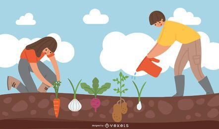 Vetor de tema de fruta de planta