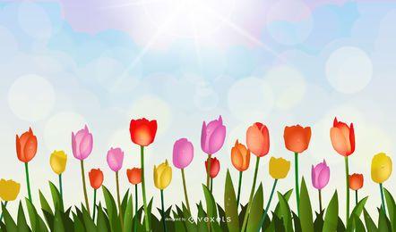 Vetor de tulipa brilhante 01