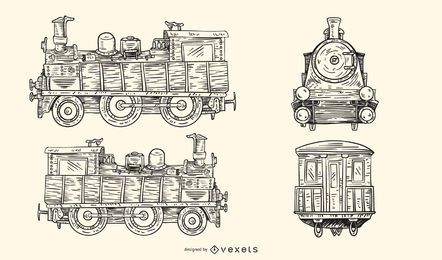 Vector de tren europeo antiguo