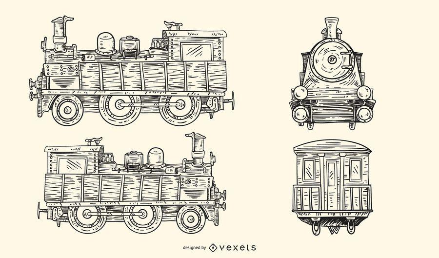 Vetor de trem europeu velho