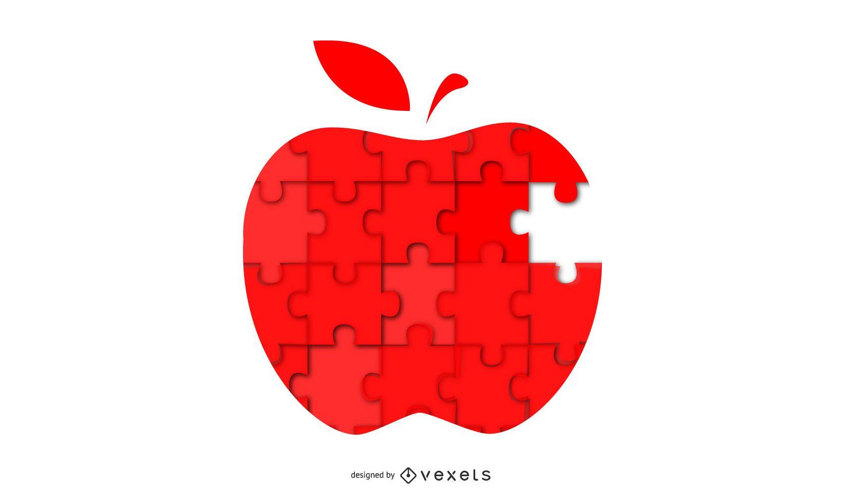 diseño de ilustración de rompecabezas de manzana