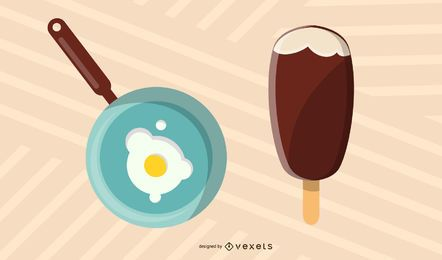 Pan Fried Eggs And Ice Cream Vector