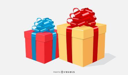 cajas de regalo con ilustración de cintas