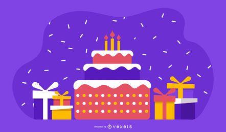 Hermoso pastel de cumpleaños tema vectorial