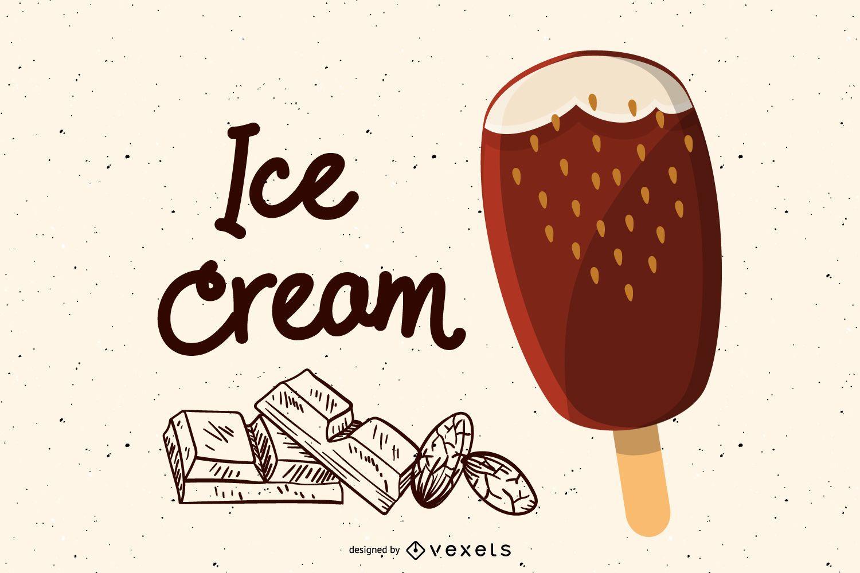 Chocolate ice cream bar illustration