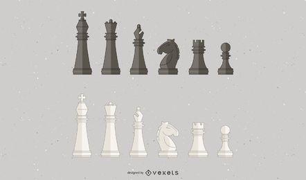 Diseño de ilustración de piezas de ajedrez