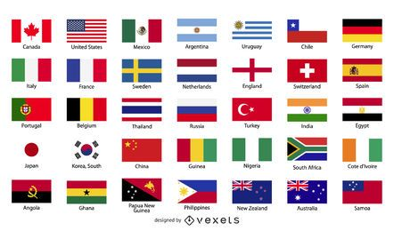 Free Vector bandeiras do mundo