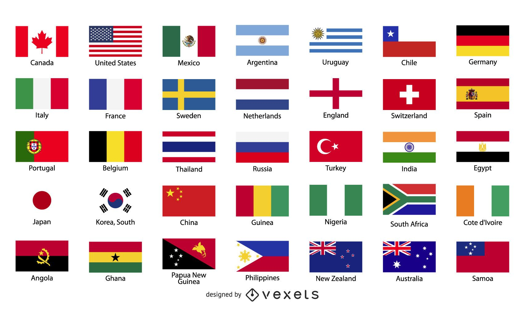 Country flags illustration set