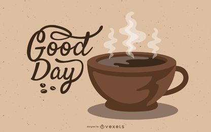 Coffee cup illustration in brown