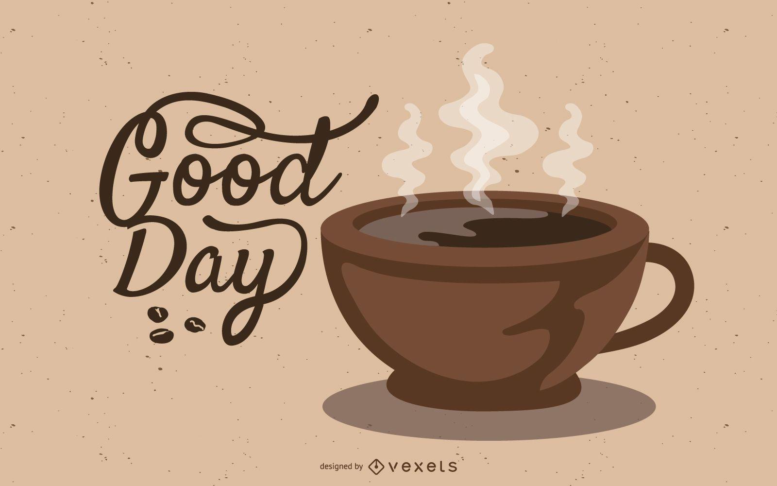 Ilustración de letras de taza de café