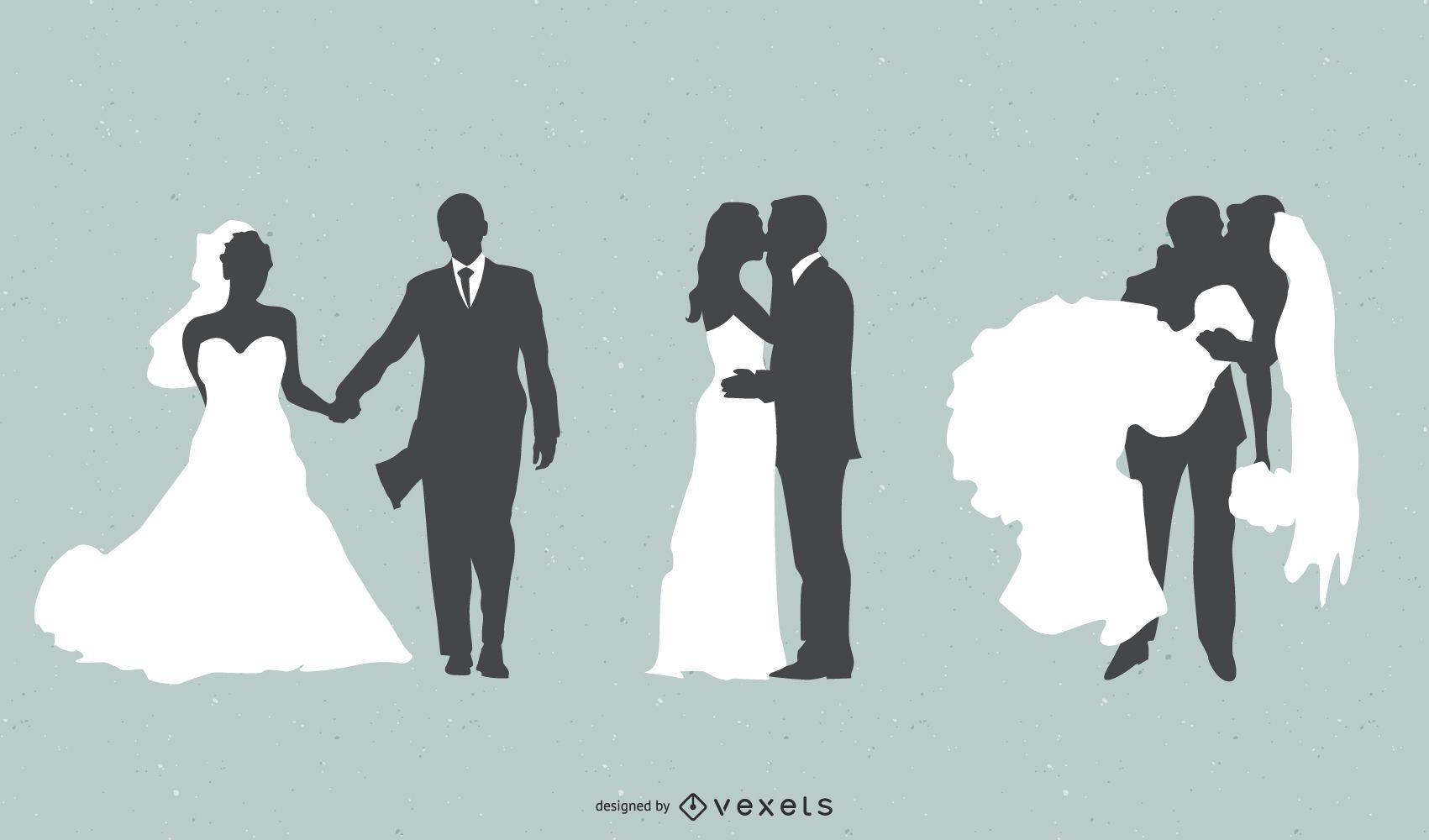 Vector de novia y novio
