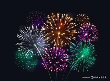 Vector 6 fogos de artifício brilhantes