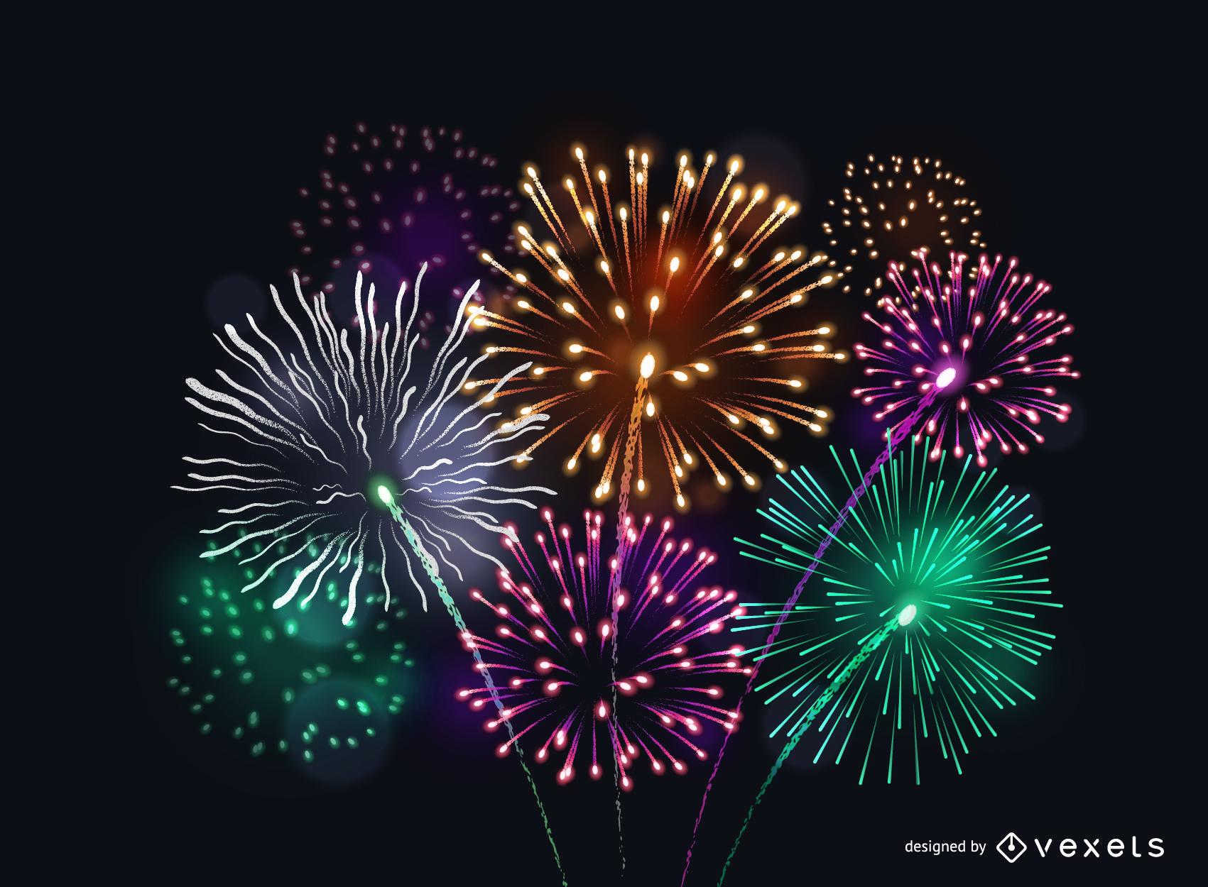 Vector 6 Fogos de artifício brilhantes fogos de artifício