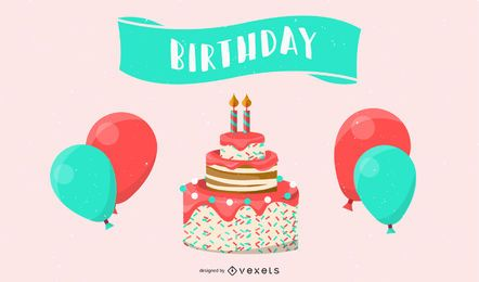 Gift Ribbon Balloon Cake Vector
