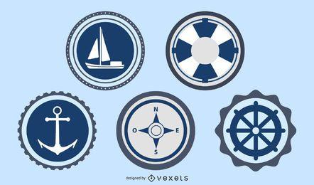 Conjunto de vectores de sello de etiquetas de océano y mar