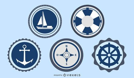Ozean und Meer beschriftet Stempel-Vektor-Satz