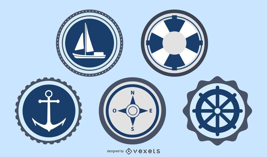 Etiquetas del océano y el mar sello conjunto de vectores