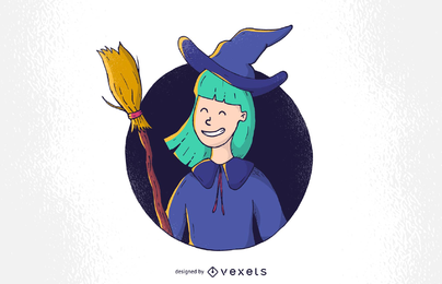 Pretty Witch With Halloween Vector Illustration