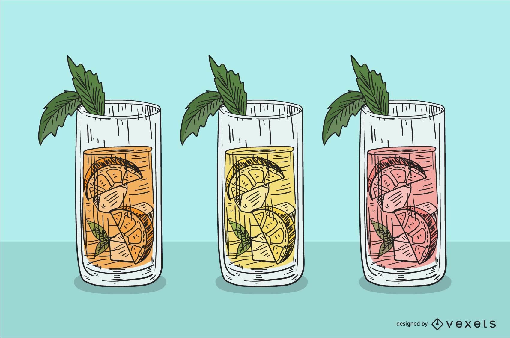 Vaso de jugo de frutas con hielo