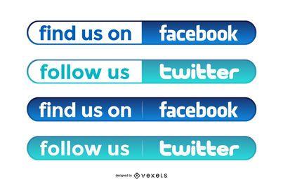 Botões simples do Facebook e do Twitter