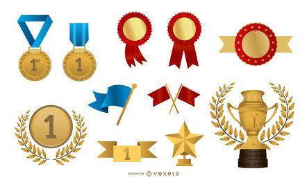Algunos de los vectores de la medalla de la insignia práctica