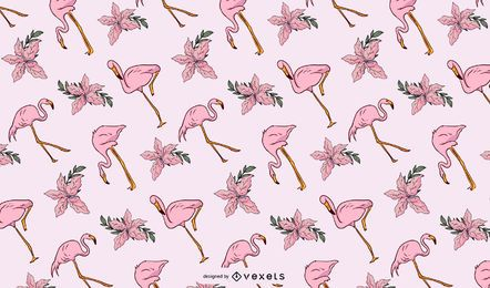 Flamingo flowers pattern design