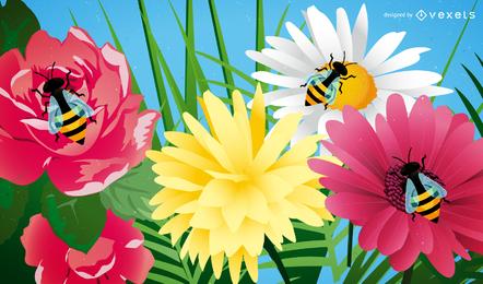 Süße Biene mit Blumen