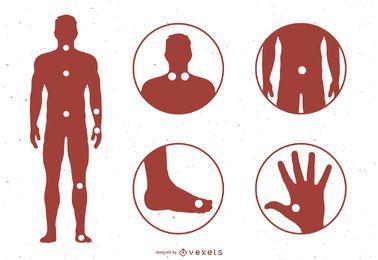 Pontos meridianos da acupuntura com referência ao mapa do corpo