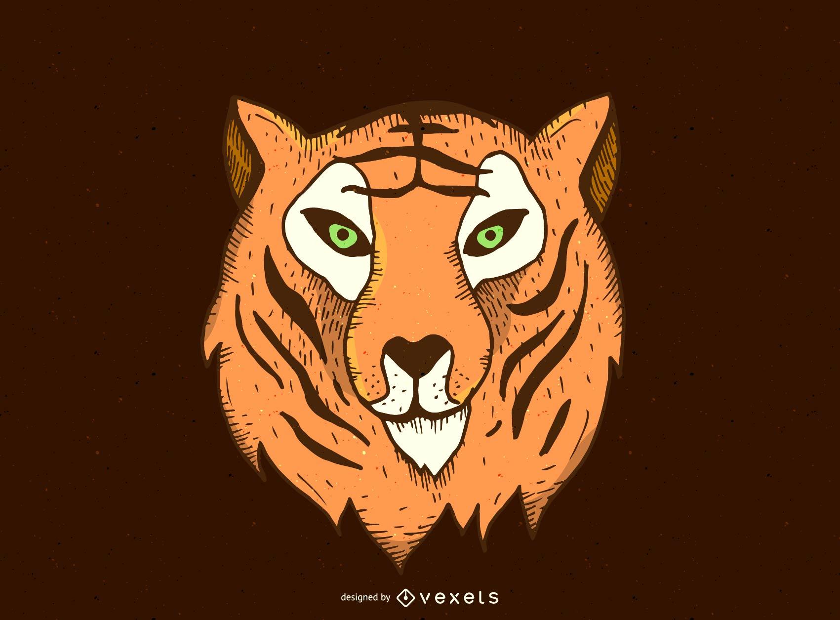 Desenho vetorial de cabe?a de tigre
