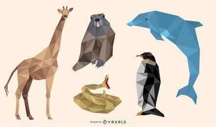 Polygonal animals illustration set
