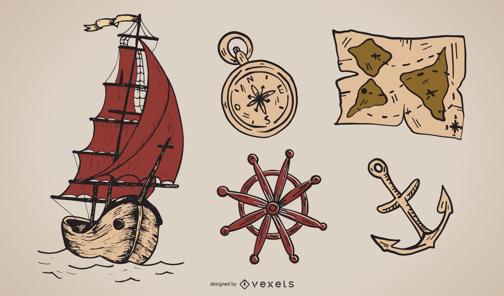 Ancient Nautical Theme Vector