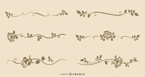 The Retro Line Art Roses Vector