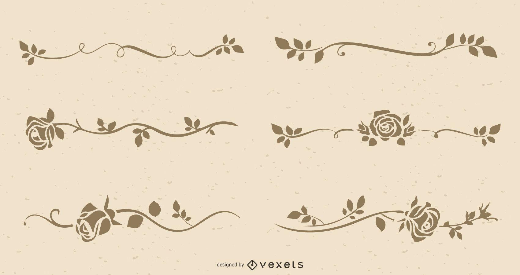 The Retro Line Art Roses Vector