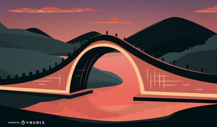 Chinese Traditional Architectural Arch Bridge Vector