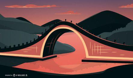 Vector de puente de arco arquitectónico tradicional chino