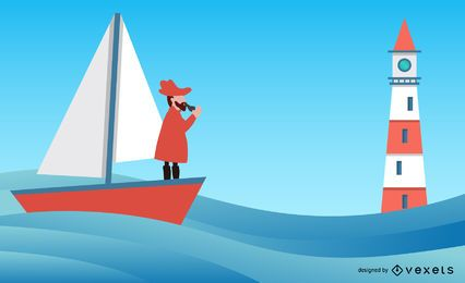 Nautical Theme Illustration Vector