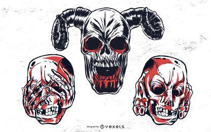 Vetor de cabeça 01 de crânio de terror