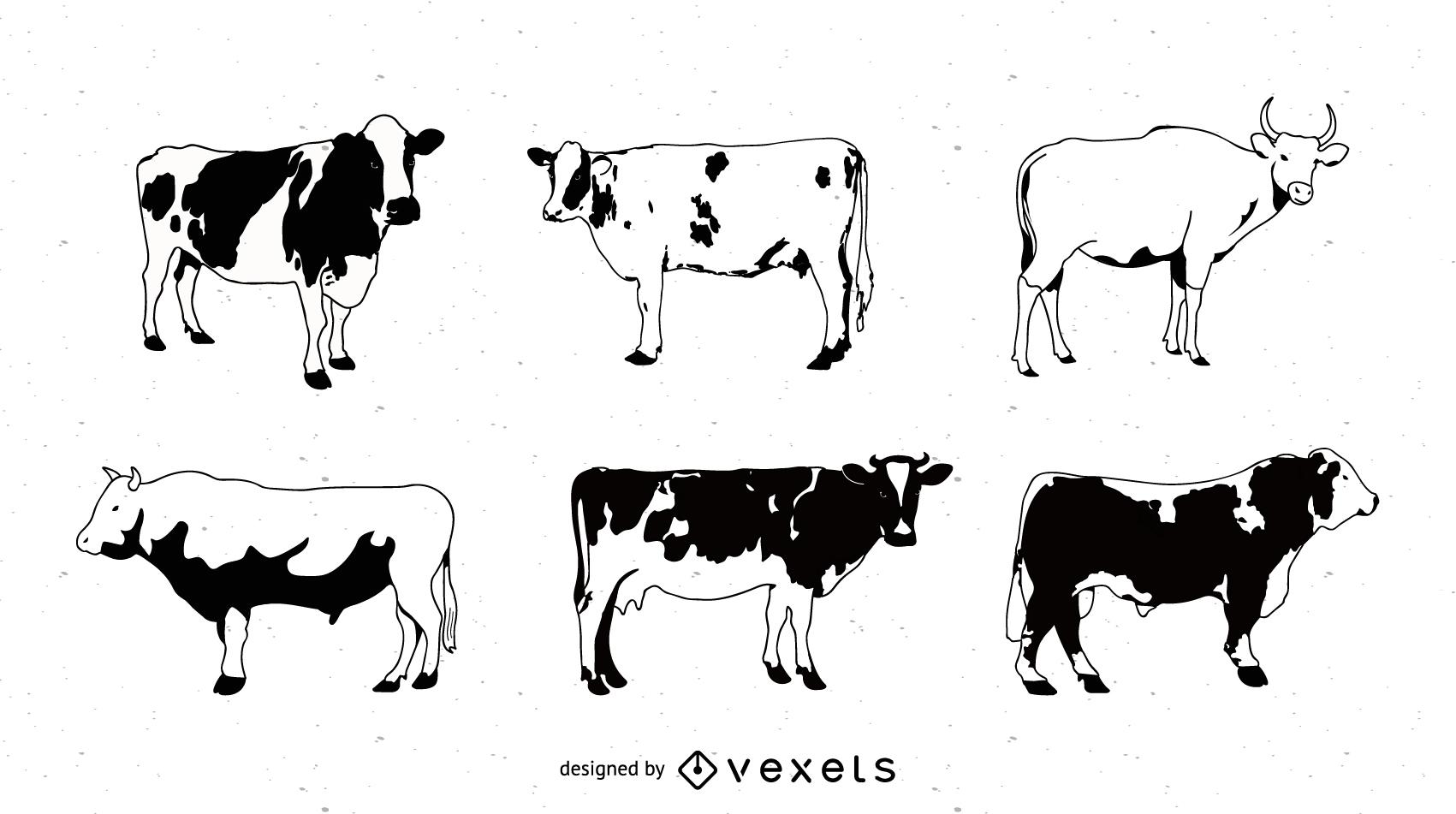 Serie de imágenes en blanco y negro de un vector de vaca pintada