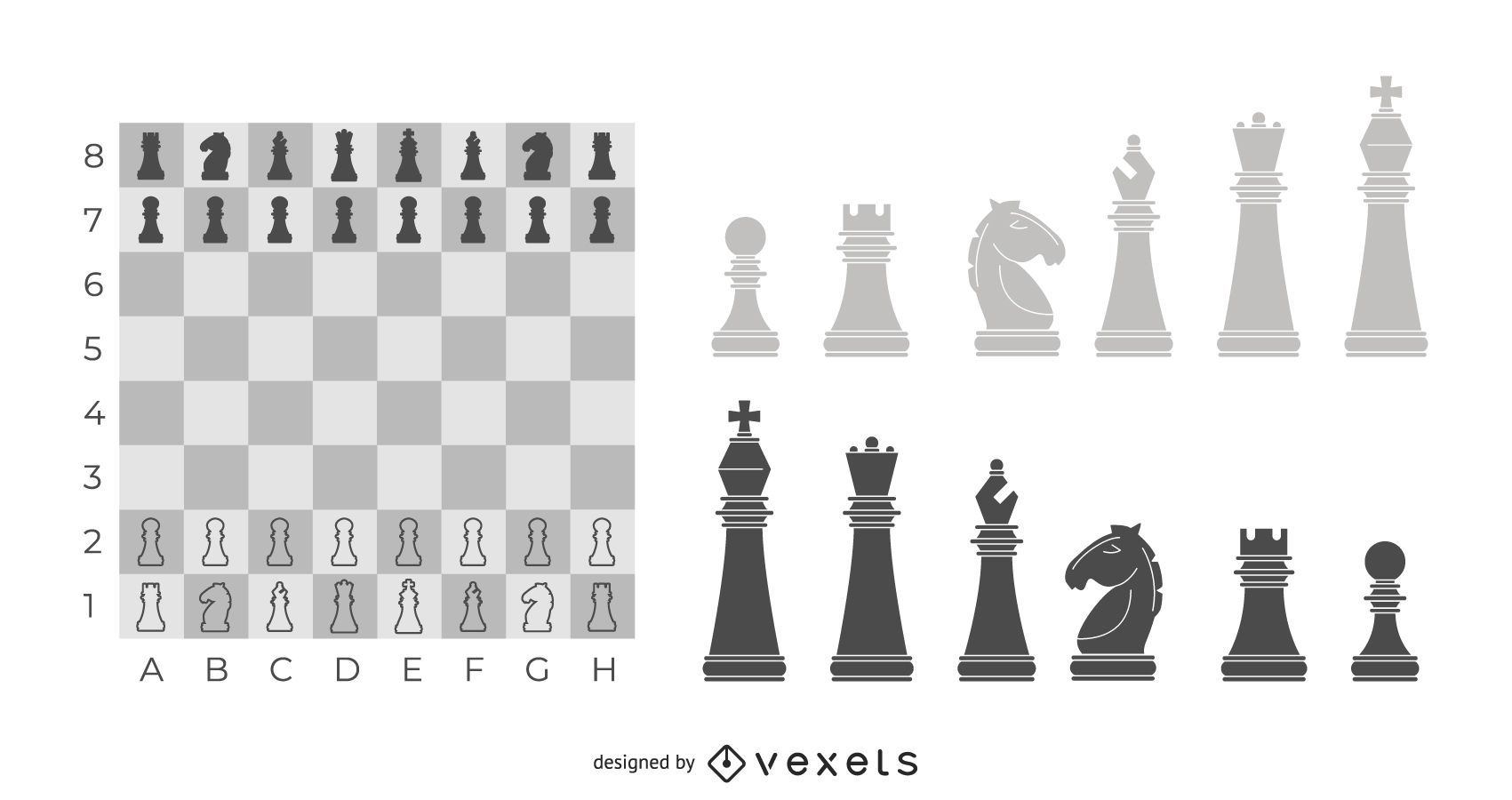 Ilustración de tablero y piezas de ajedrez