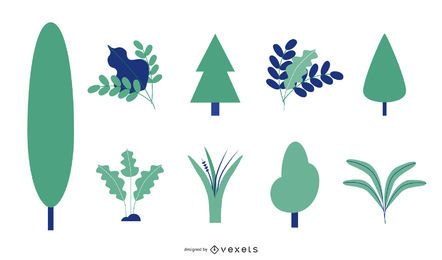Conjunto de vectores de árboles y hojas