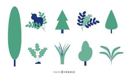 Conjunto de vetores de árvore e folhas