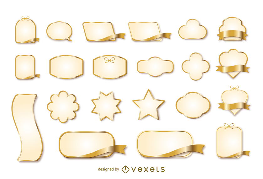 Gold Ribbon Label Vector 3
